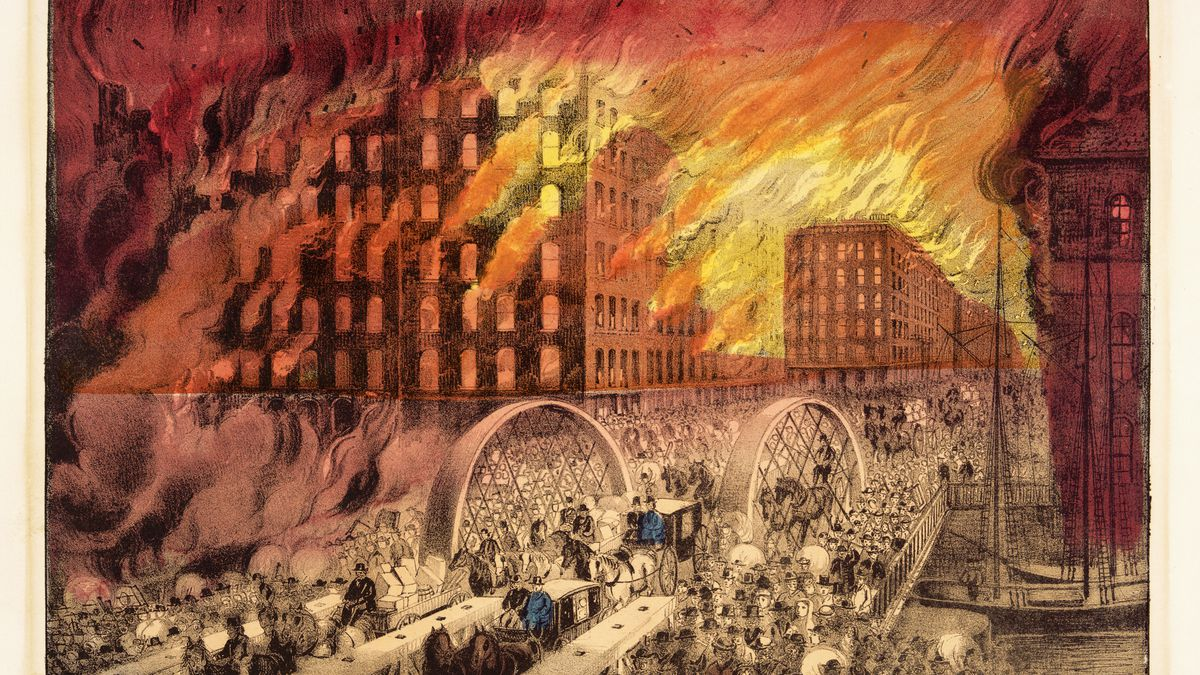 """A painting of The Great Chicago Fire of 1871 that will be featured at the Chicago History Museum's new exhibit """"City on Fire """" that's set to open Oct. 8 on the 150th anniversary of the fire."""