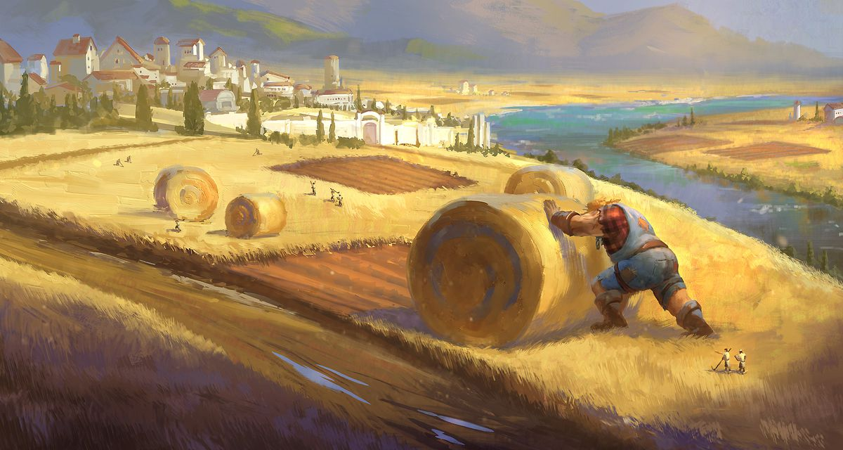 A giant rolls up a building-sized bale of hay along a picturesque riverbank.