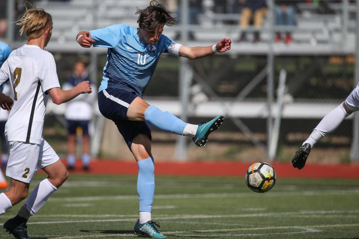 Layton and Davis boys soccer teams compete at Davis High School in Layton on Tuesday, April 17, 2018.