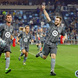 August 14, 2019 - Saint Paul, Minnesota, United States - The Minnesota United Unified Team runs out to the field to take on the Colorado Rapids Unified Team in a match at Allianz Field.