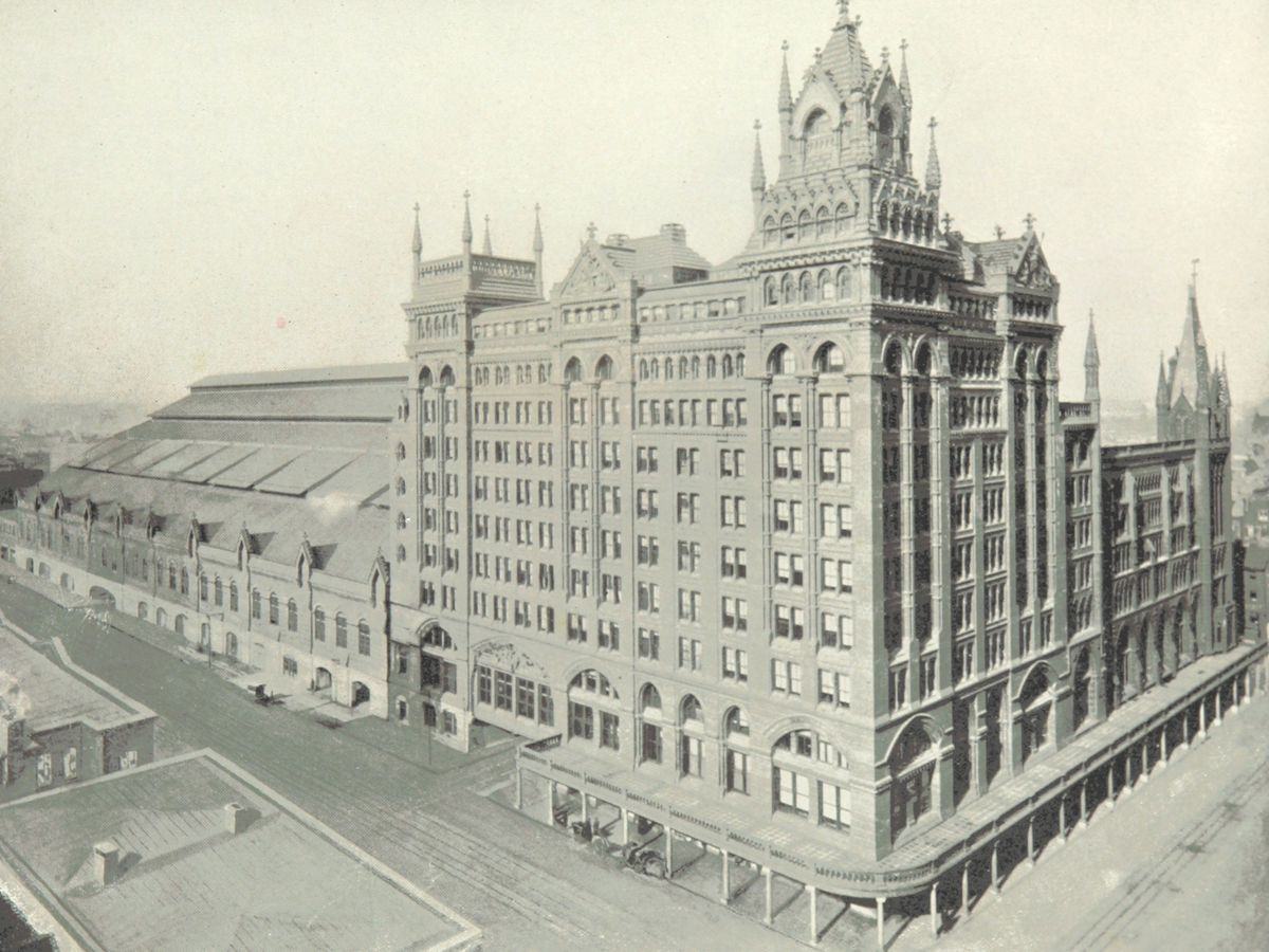 The exterior of Broad Street Station in Philadelphia. This is an old historic photograph.