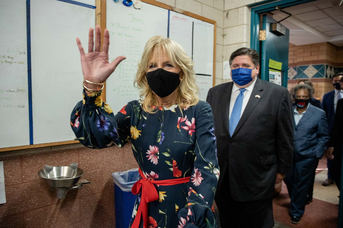 First lady Jill Biden was joined Wednesday by Gov. J.B. Pritzker and Mayor Lori Lightfoot during a tour of Arturo Velasquez Institute in Little Village.