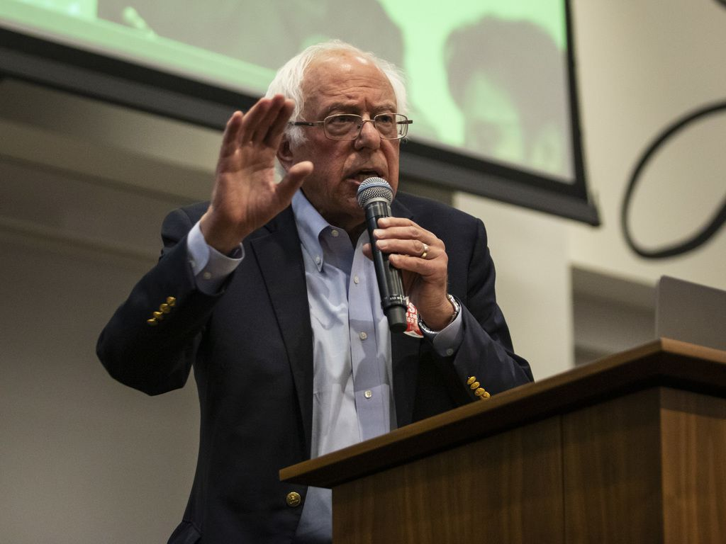 Presidential candidate U.S. Sen. Bernie Sanders (D-VT) speaks at a rally at the Chicago Teachers Union headquarters, Tuesday.