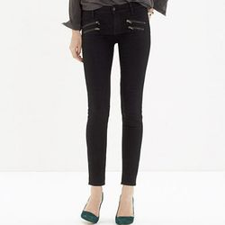 """""""Wearing denim during the fall just seems like a natural fit. Since most of us will be wearing boots up to our knees I like styles that have a little more character. These biker-inspired skinny jeans are perfect to throw on with a leather jacket and light"""