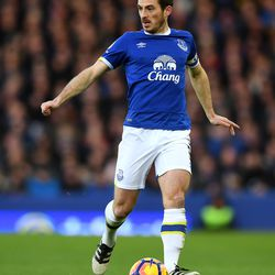 Leighton Baines of Everton during the Premier League match between Everton and Southampton at Goodison Park on January 2, 2017 in Liverpool, England.