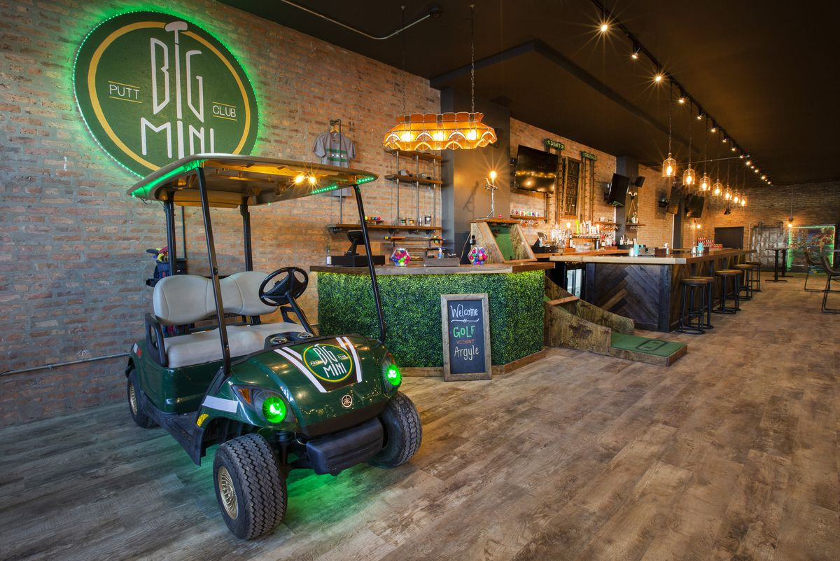 A golf cart indoors.