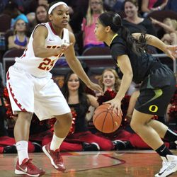 Brianna Barrett on defense.