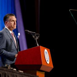 Republican presidential candidate, former Massachusetts Gov. Mitt Romney speaks to members of the National Guard Association Convention in Reno, Nev., Tuesday, Sept. 11, 2012.