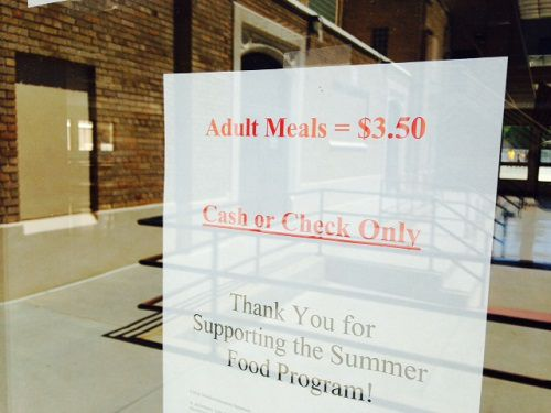 Sign at the entrance of a summer meal site in Loveland.