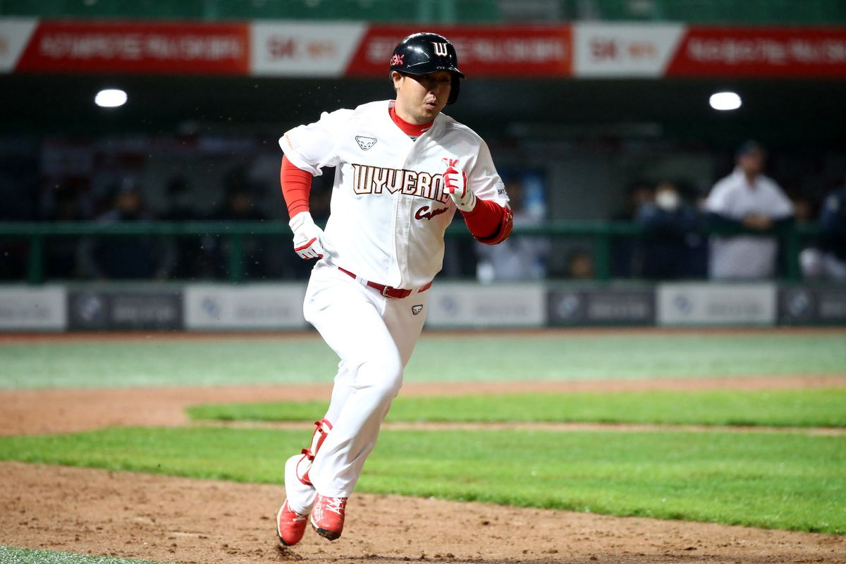 Infielder Choi Jeong of SK Wyverns runs to firstbase in the top of the ninth inning during the KBO League game between NC Dinos and SK Wyverns at the Incheon SK Happy Dream Park on May 15, 2020 in Incheon, South Korea.