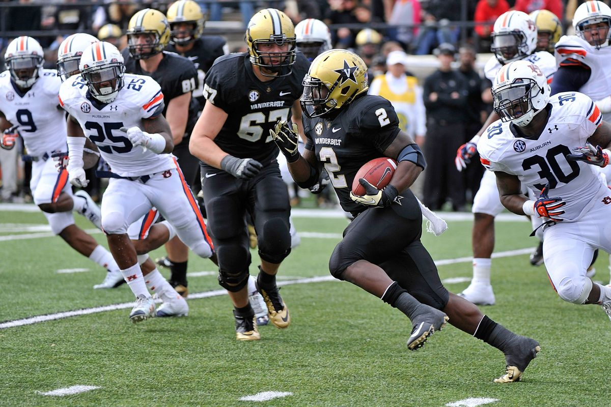 Vanderbilt running back Zac Stacy powered through the Auburn defense all day, gaining 163 yards and a touchdown on 27 carries.