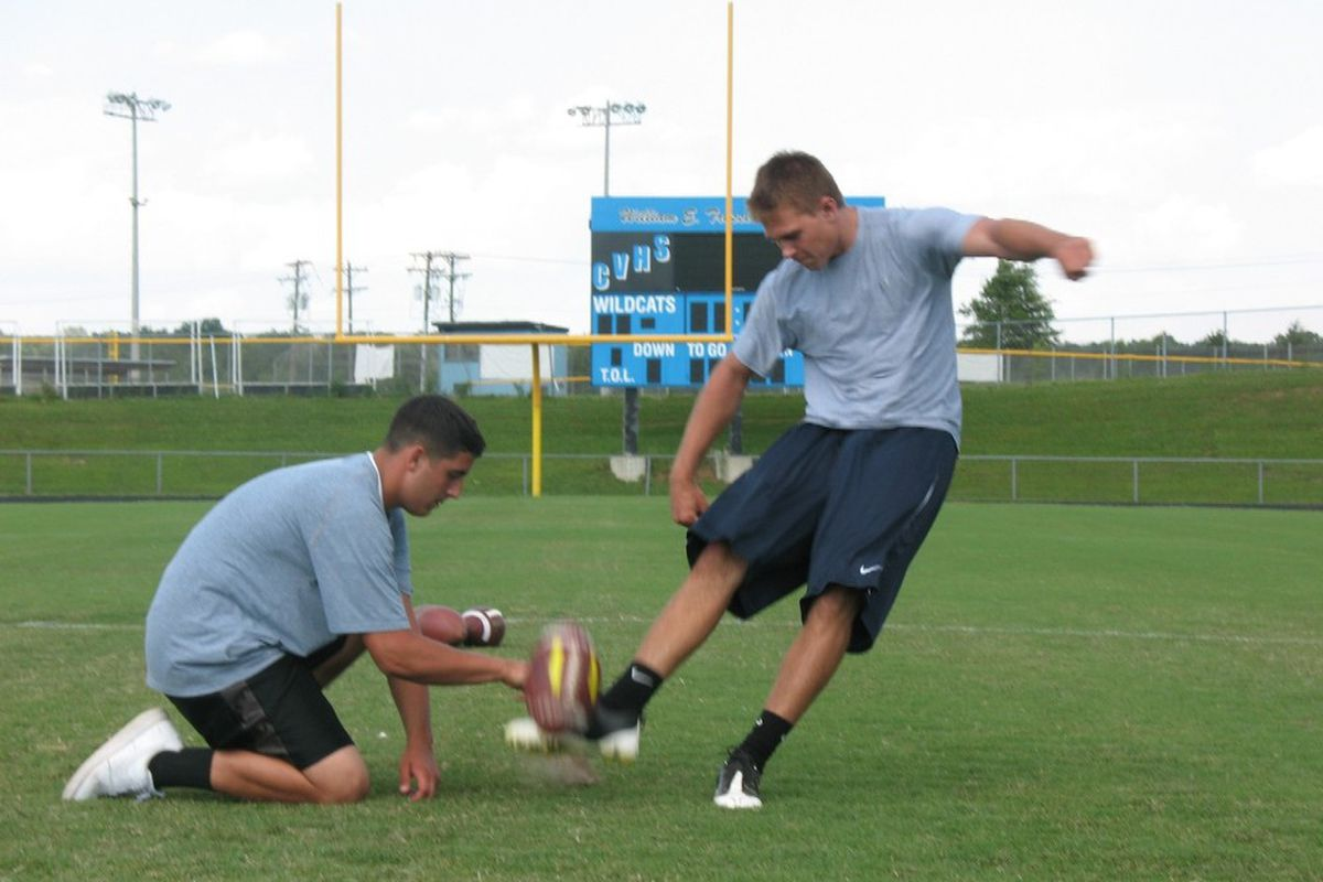 """Nick Ferrara is the only scholarship kicker on board. Can he beat the walk-ons? (Short answer: yes, probably). Image via <a href=""""http://www.specialteamssolutions.com/images/DCNick2009.jpg"""">specialteamssolutions.com</a>"""