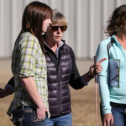Abby Petchinsky, 21, of Mt. Pleasant, talks with Jolene Green, LCSW, and Brittani Frade, CMHCi, left to right, at The Barn in South Jordan on Friday, March 17, 2017.