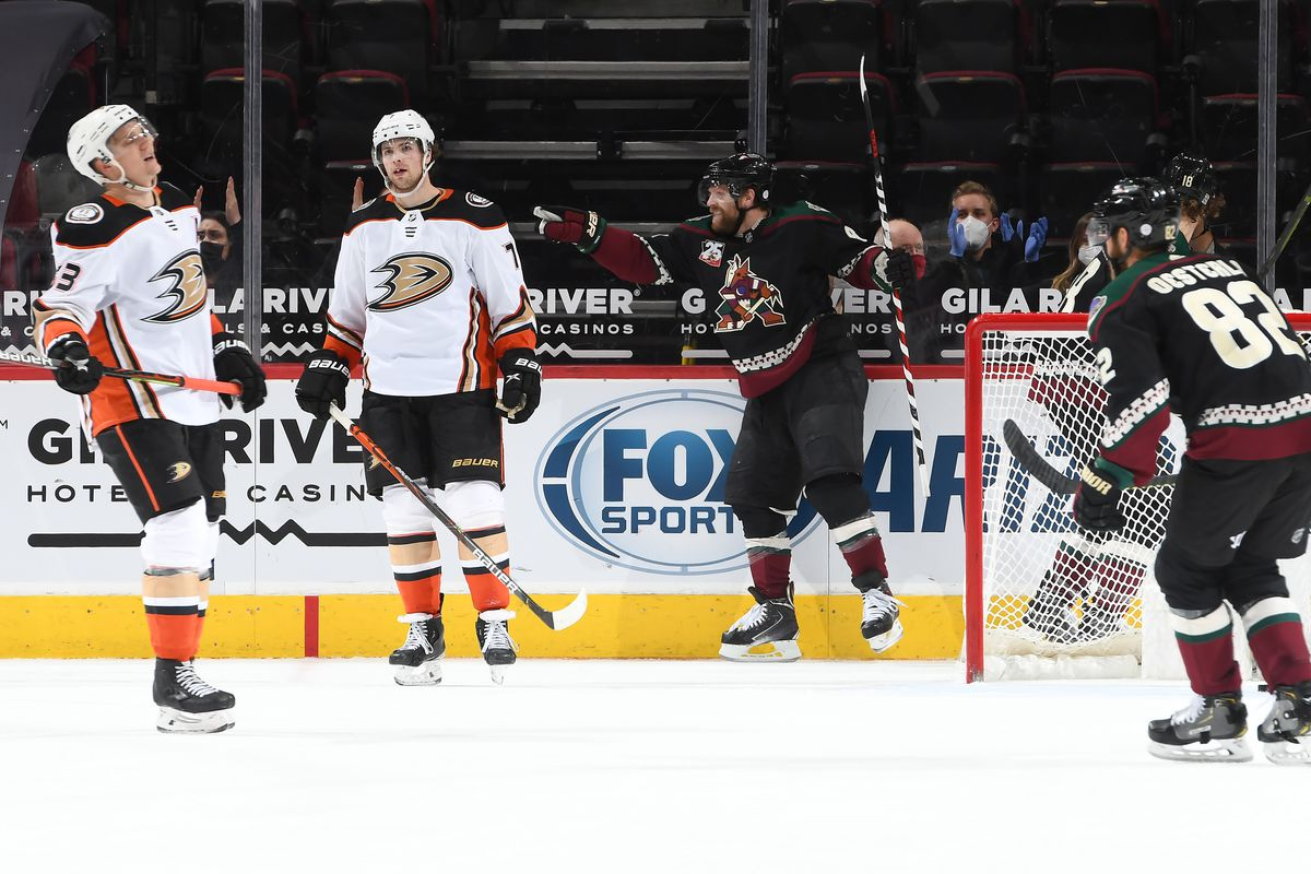 Phil Kessel #81 of the Arizona Coyotes celebrates after scoring a goal as Jakob Silfverberg #33 and Josh Mahura #76 of the Anaheim Ducks react during the third period of the NHL hockey game at Gila River Arena on February 24, 2021 in Glendale, Arizona.