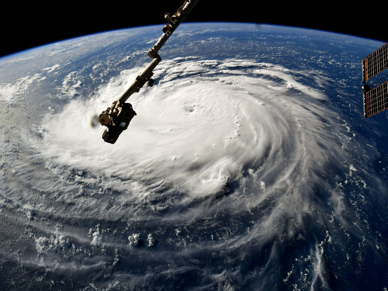 Hurricane Florence looms over the Atlantic Ocean.