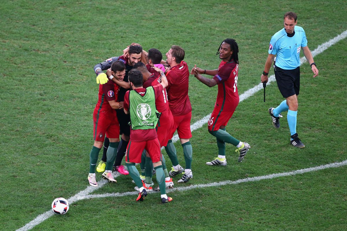 Portugal celebrate winning on penalties.  Poland had the advantage--and threw it away.  Read on.