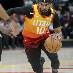 Utah Jazz guard Mike Conley (10) dribbles during an NBA game against the Toronto Raptors at Vivint Arena in Salt Lake City on Monday, March 9, 2020. The Jazz lost 92-101.