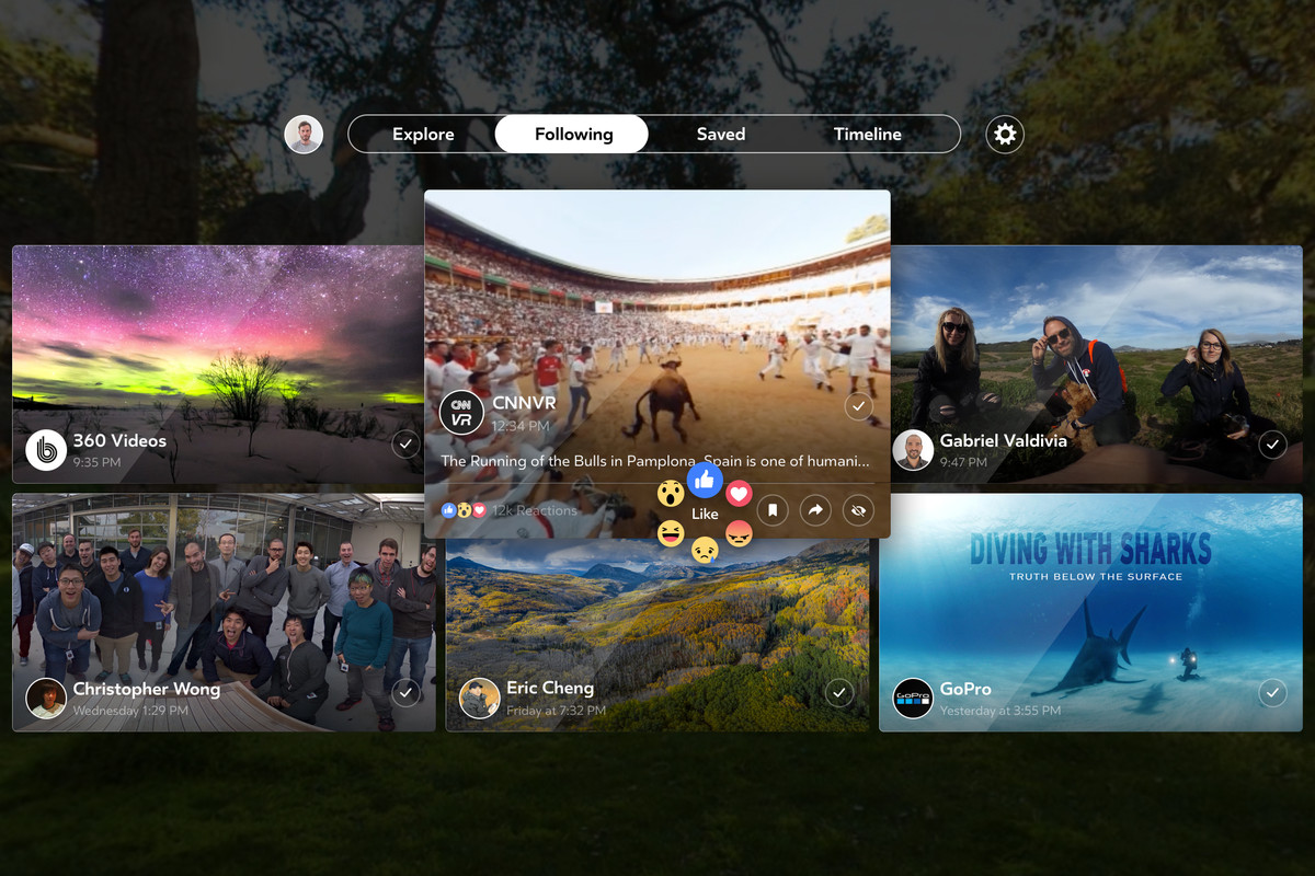 Facebook 360 interface