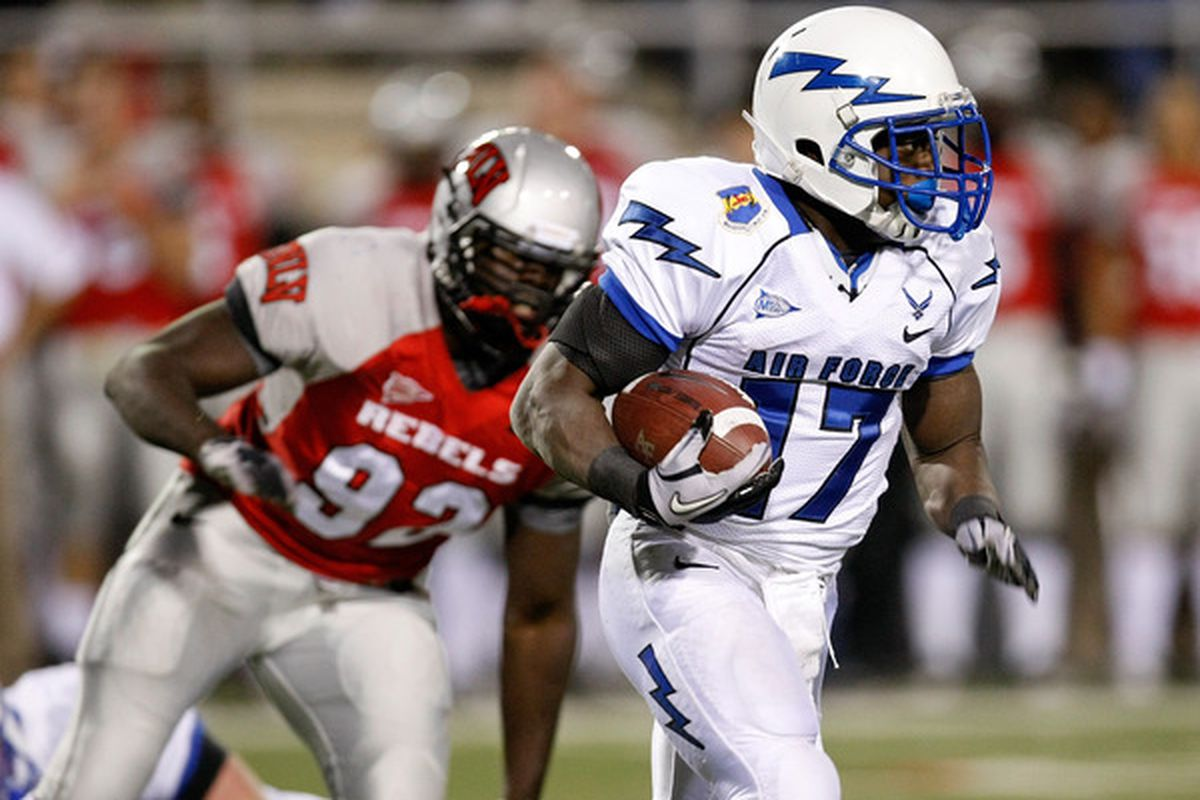 LAS VEGAS - NOVEMBER 18:  Asher Clark #17 of the Air Force Falcons runs for yardage against the UNLV Rebels during their game at Sam Boyd Stadium November 18 2010 in Las Vegas Nevada. Air Force won 35-20.  (Photo by Ethan Miller/Getty Images)