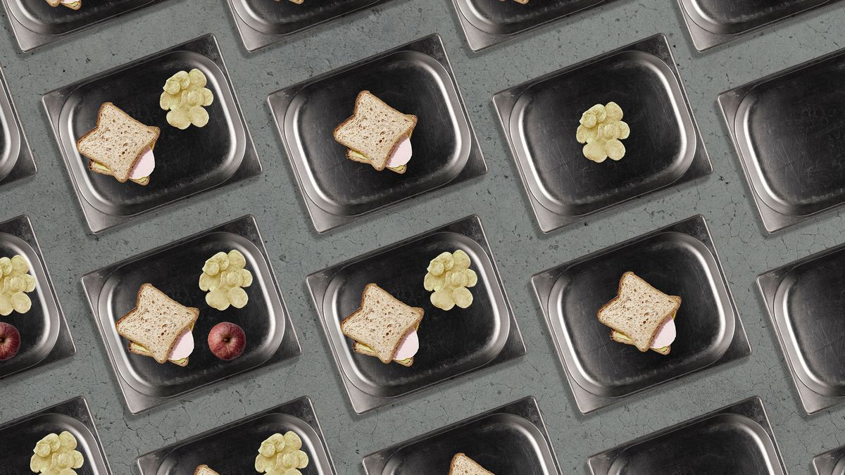 A mosaic illustration of prison food trays. The trays in the upper left quarter or the image contain more food, while the trays in the lower right contain little to no food at all.