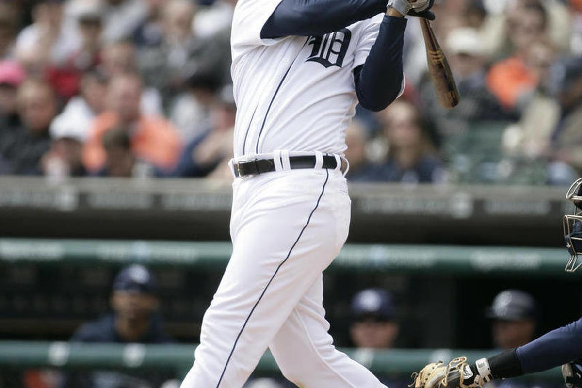 FILE - In this April 12, 2012, file photo, Detroit Tigers' Delmon Young bats against the Tampa Bay Rays during a baseball game in Detroit. Young has been arrested on a hate crime assault charge after police say he attacked a group of men and yelled anti-S