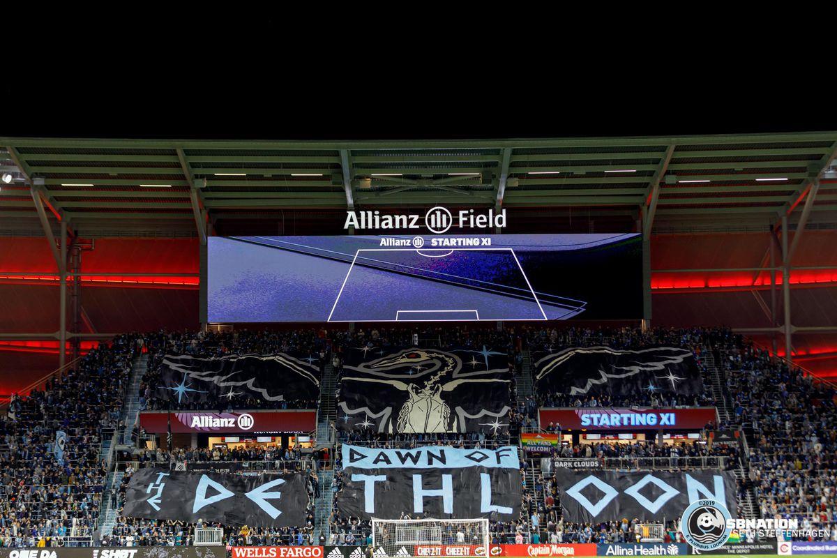 October 20, 2019 - Saint Paul, Minnesota, United States - The Wonderwall unfurls a tifo prior to kickoff of the Minnesota United vs LA Galaxy first round playoff match at Allianz Field.