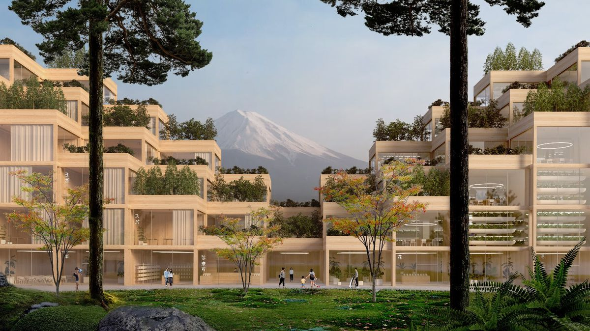 Rendering of stacked timber residences, with a mountain in the distance.