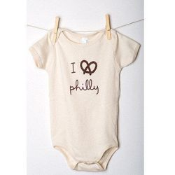 """<a href=""""http://store.busybeephilly.com/products/i-pretzel-philly-onesie"""">I Pretzel Philly Onesie</a>, $30 at South Street's Busybee Homestore"""