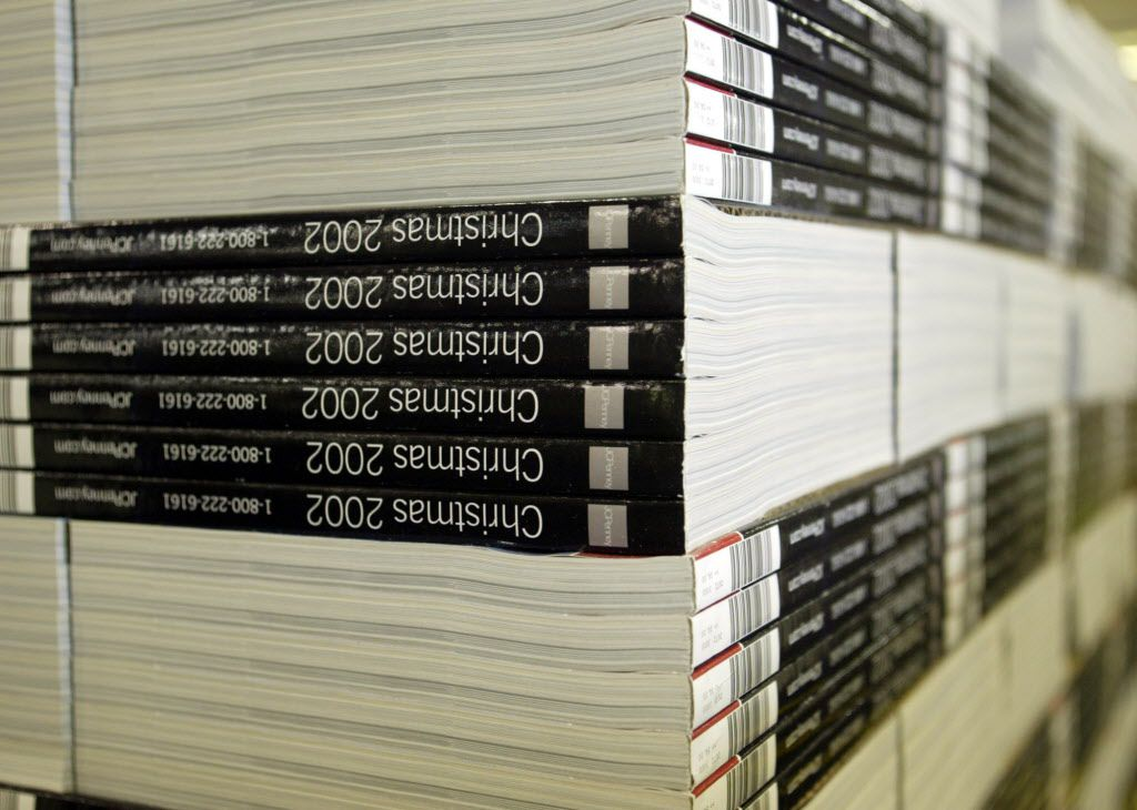 <small><strong> Pallets loaded with the J.C. Penney Co. Christmas catalog in 2002.</strong> | AP file photo</small>
