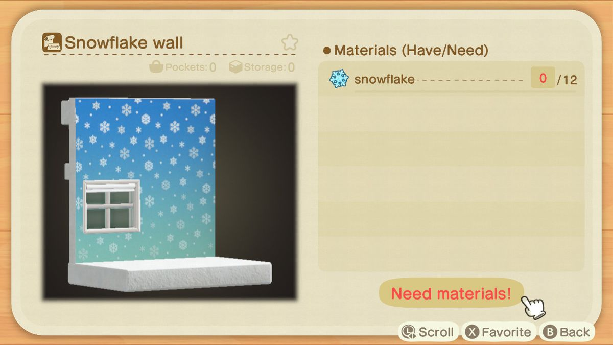 An Animal Crossing recipe for a Snowflake Wall