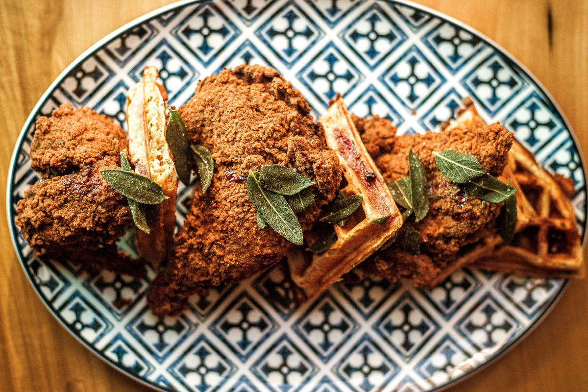 patterned plate with chicken and waffles