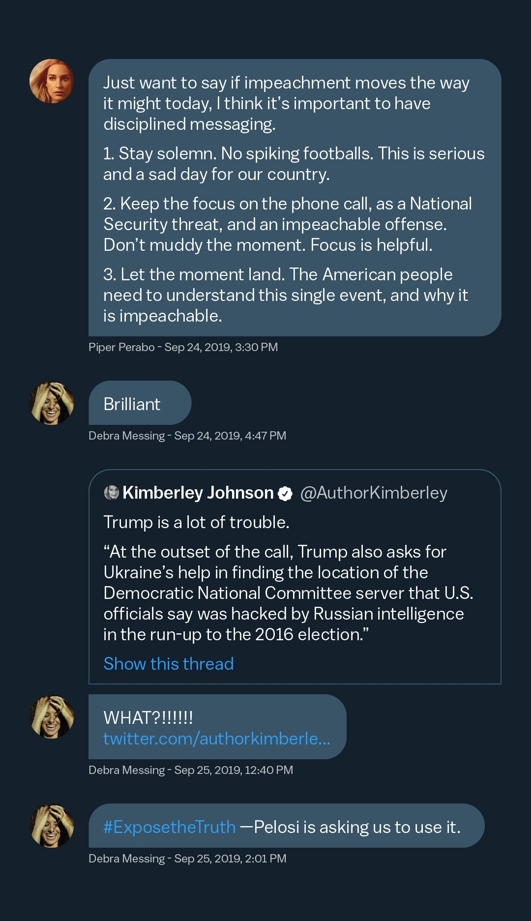 A direct message conversation between Piper Perabo and Debra Messing about impeachment.