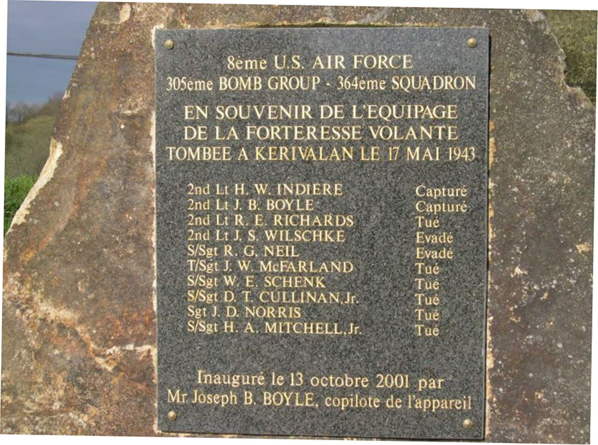 """A plaque in France listing who from James """"Bud"""" Wilschke's squadron were killed, got captured or avoided capture."""