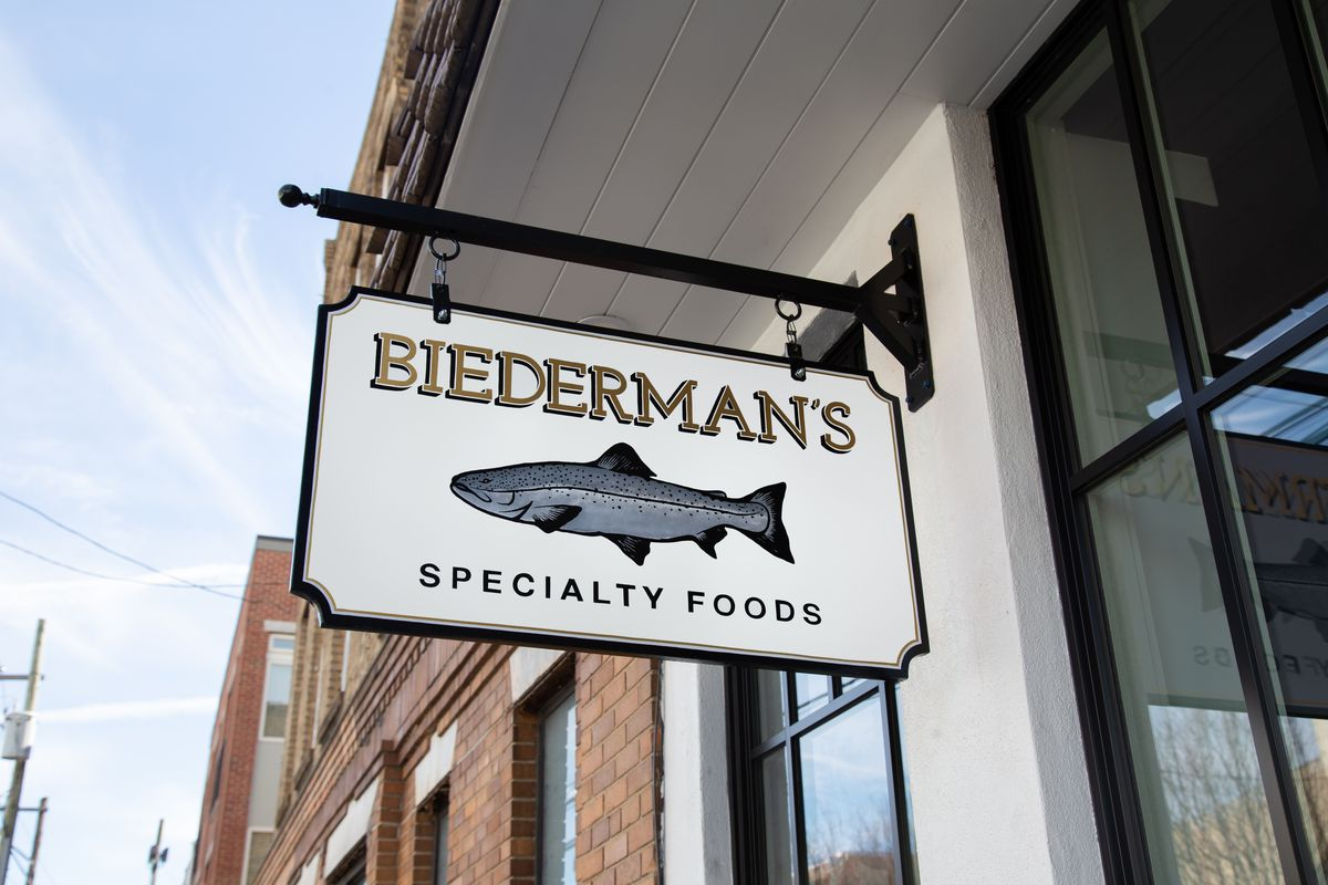 Biederman's sign with a hand-painted fish