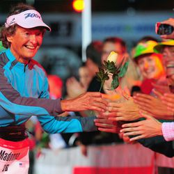 83 year old nun Sister Madonna Buder of the United States arrives at the finish line after Challenge Roth on July 20, 2014 in Roth, Germany. (Photo by Lennart Preiss/Getty Images)