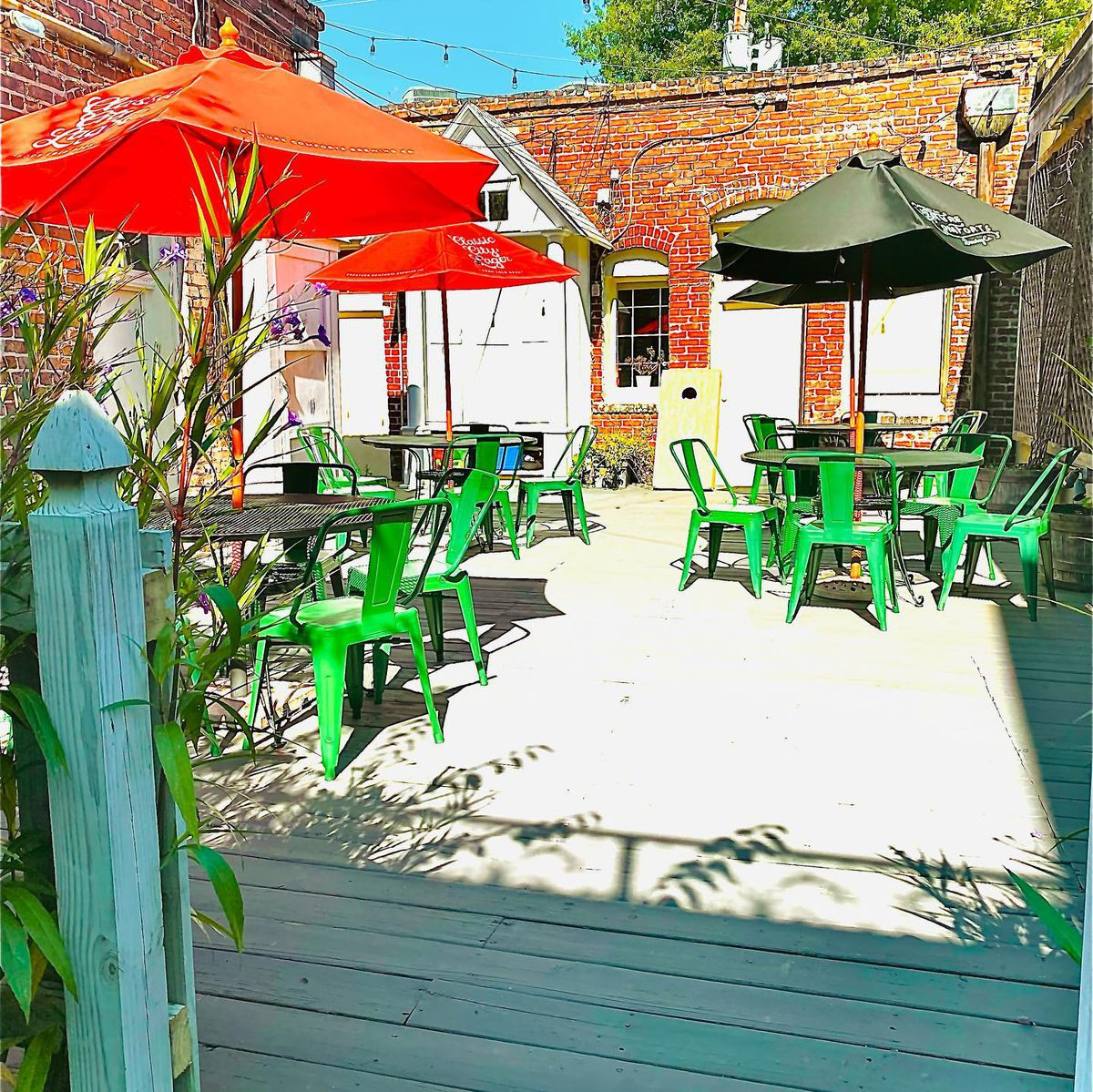 The back patio at former One Eared Stag.