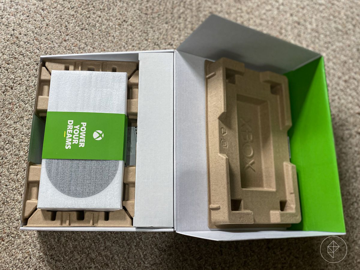 an overhead photo of the Xbox Series S in its packaging