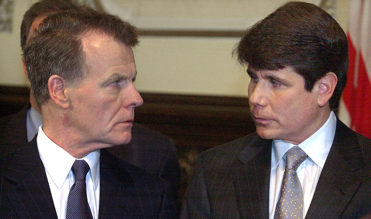 Illinois Speaker of the House Michael Madigan, D-Chicago, left, and Illinois Gov. Rod Blagojevich, right, appear together during a news conference in the Governor's office at the Illinois State Capitol in Springfield, Ill., Friday, May 28, 2004.