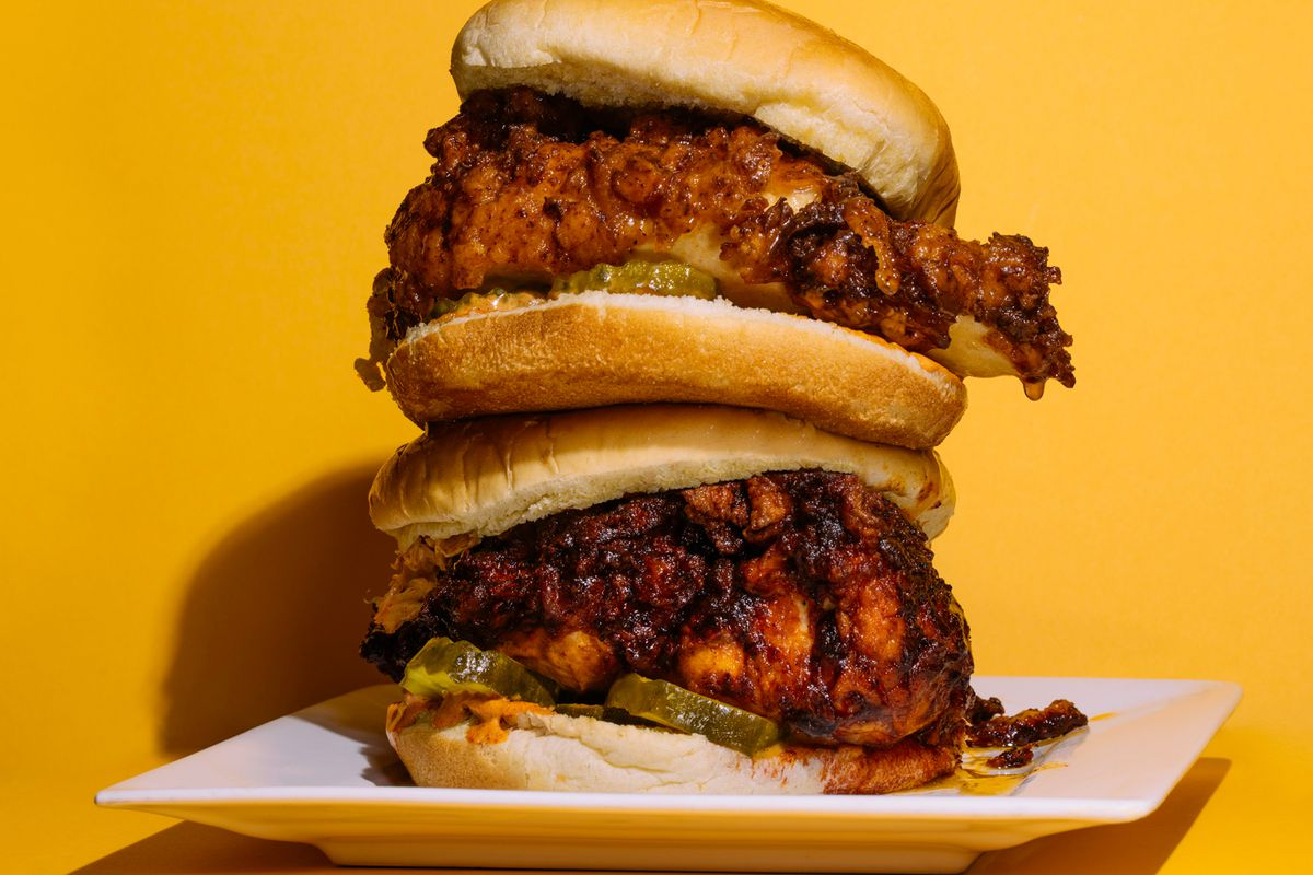 Stack of fried chicken sandwiches from Kowbird