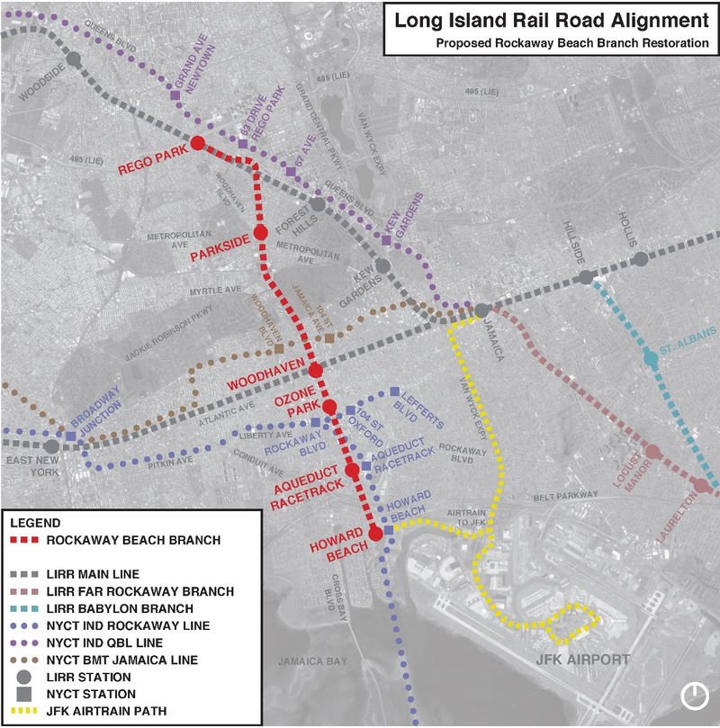 A map that depicts where the proposed LIRR spur will reconnect to the Long Island Rail Road while positioning it in the larger public transportation framework of the area.