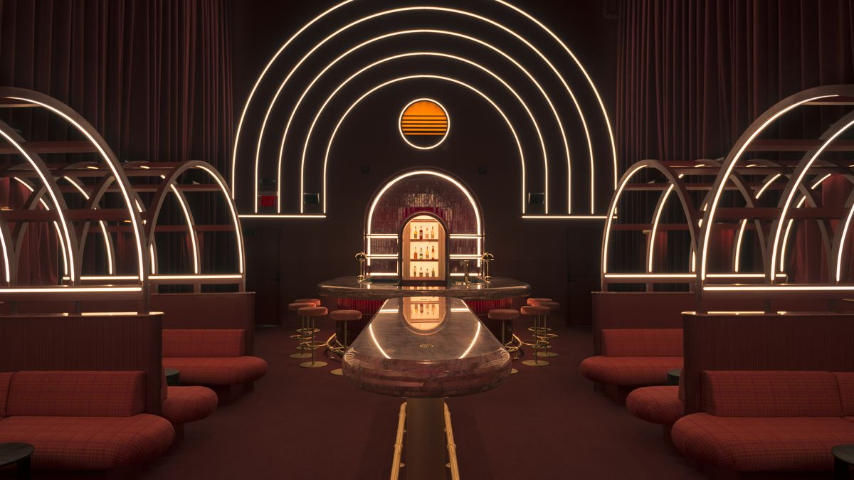 A 1980s somewhat futuristic atmosphere of the bar and lounge at Jo Jo's Beloved in Atlanta. The bar is dimly lit with thin, semi-circular flanking it. Red plush booths with the same semi-circular lightening flank the sides of the lounge
