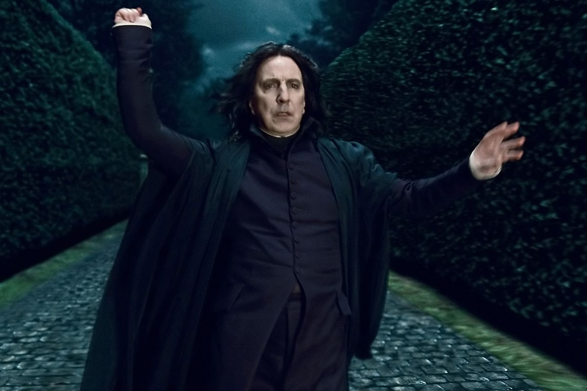 Actor Alan Rickman as Severus Snape, Defense Against the Dark Arts teacher at Hogwarts School of Witchcraft and Wizardry.