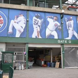 Player banners above Gate D -