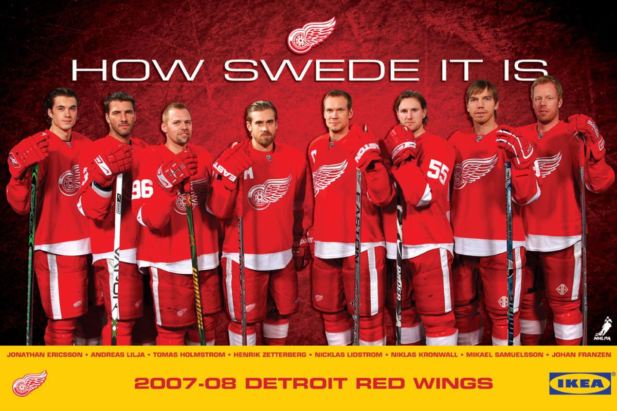 via the official Wings site, Detroit has many key parts to Team Sweden