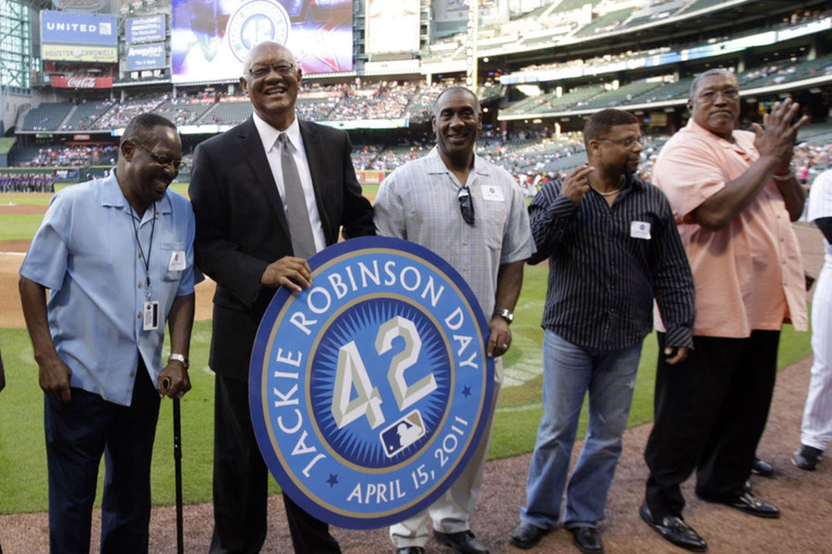 HOUSTON - APRIL 15:  (L-R) Former Houston Astros players Jimmy Wynn, Enos Cabell,Kevin Bass, James Mouton and J.R. Richard on hand for Jackie Robinson Day at Minute Maid Park on April 15, 2011 in Houston, Texas.  (Photo by Bob Levey/Getty Images)