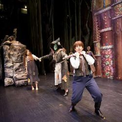 """Leah Wool plays Hansel, Jennifer Roderer plays the witch, and Anya Matanovic plays Gretel in Utah Opera's """"Hansel and Gretel."""""""