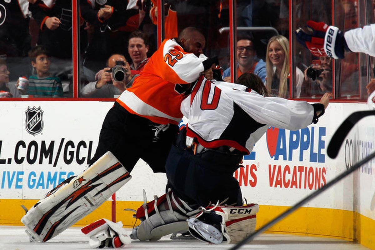 Ll Ray Emery Disgraces Nhl By Punching Unwilling Braden Holtby Pension Plan Puppets