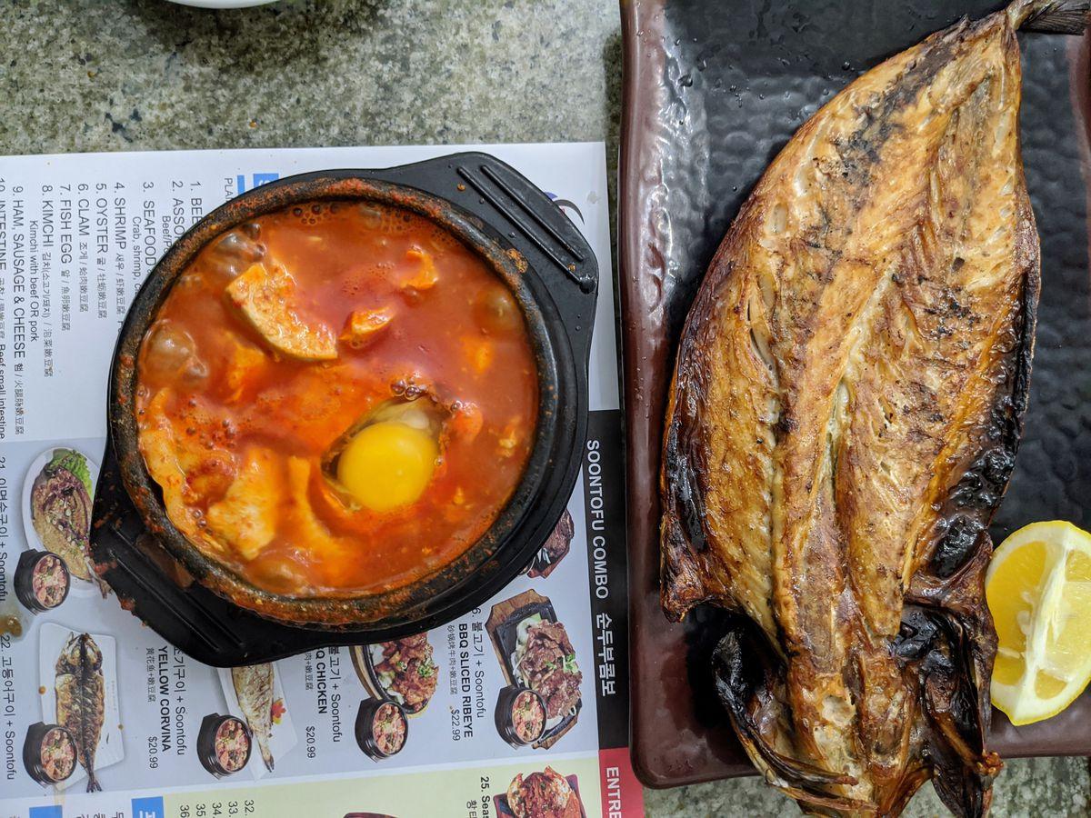 Soontdubu and fried mackerel combo at Surawon in Koreatown.