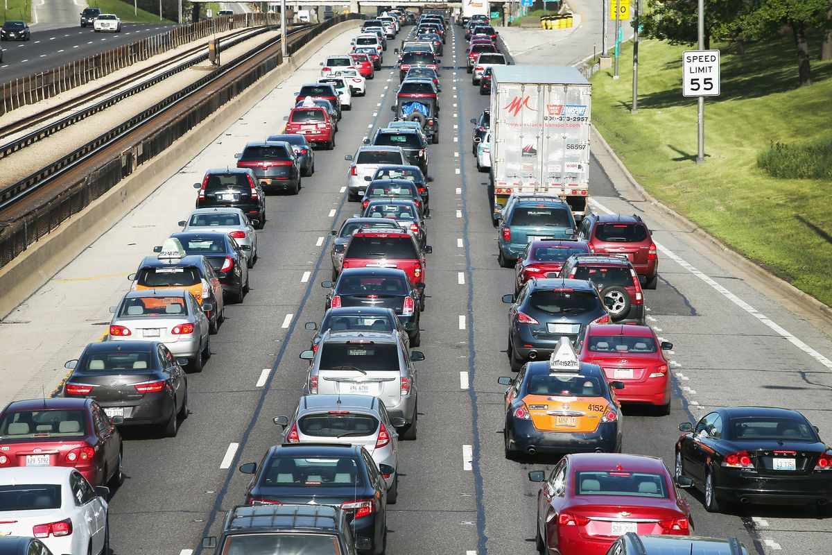 The Kennedy Expressway is clogged with cars.