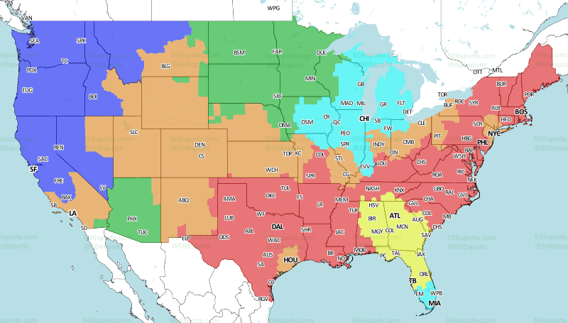 Los Angeles Map Png.La Rams At Denver Broncos Week 6 2018 Broadcast Map Turf Show Times
